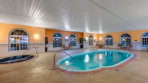 Indoor pool, open noon to 9:00 PM, free cabanas