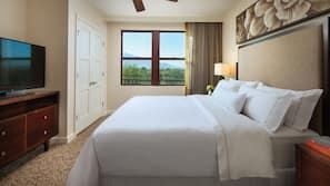 Egyptian cotton sheets, down duvet, pillow top beds, desk