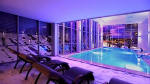 Indoor pool, open 8 AM to 10 PM, sun loungers
