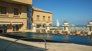 2 outdoor pools, open 7:00 AM to 10:00 PM, pool loungers