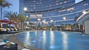 室內泳池、季節性室外泳池;06:00 至 22:00 開放;泳池傘、躺椅