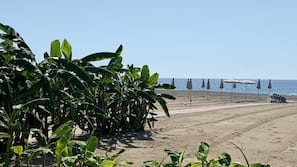 Plage, parasols, serviettes de plage, beach-volley