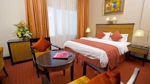 Select Comfort beds, minibar, in-room safe, desk
