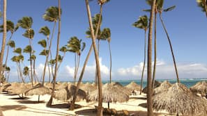 Private beach, white sand, free beach shuttle, free beach cabanas