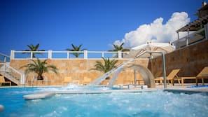 Indoor pool, 5 outdoor pools, pool umbrellas