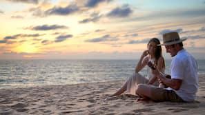 On the beach, white sand, beach yoga