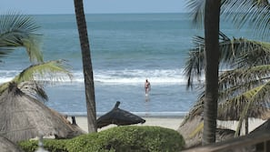 On the beach, beach towels, beach volleyball, beach bar