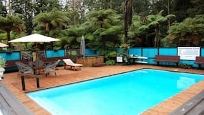 Outdoor pool, open 10:30 AM to 8 PM, pool umbrellas, pool loungers