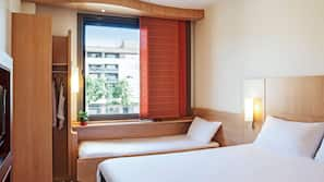 Blackout curtains, soundproofing, iron/ironing board