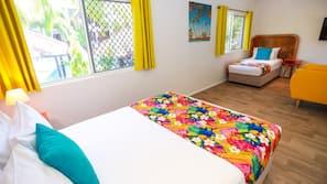 Pillow-top beds, desk, blackout curtains, soundproofing