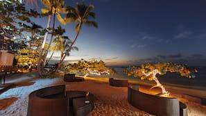 On the beach, white sand, free beach cabanas, beach shuttle