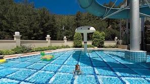 6 outdoor pools, pool umbrellas