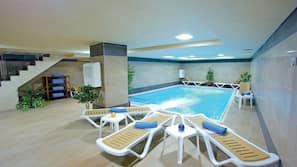 Indoor pool, seasonal outdoor pool, pool loungers