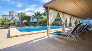 Seasonal outdoor pool, open 10 AM to 8 PM, pool loungers