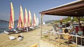 On the beach, beach volleyball, surfing, sailing
