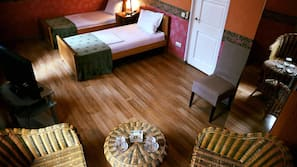 Egyptian cotton sheets, pillowtop beds, blackout drapes, free WiFi