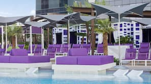 Seasonal outdoor pool, open 9:00 AM to 5:00 PM, pool cabanas (surcharge)