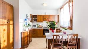 Full-size fridge, microwave, oven, espresso maker
