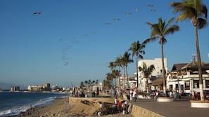 Beach nearby, beach towels, beach bar