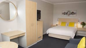 1 bedroom, desk, blackout curtains, iron/ironing board
