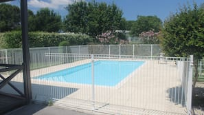 Seasonal outdoor pool, open 8 AM to 8 PM, sun loungers