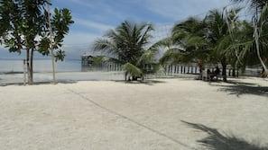Private beach, white sand, sun-loungers, beach volleyball