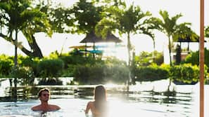 2 outdoor pools, open 6:00 AM to 6:30 PM, free pool cabanas
