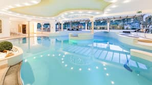 Indoor pool, seasonal outdoor pool, open 7 AM to 7:30 PM, pool umbrellas