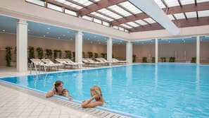 Indoor pool, open 7:30 AM to 6:30 PM, sun loungers