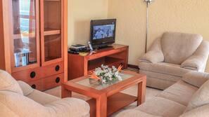 TV, DVD player, livros