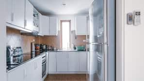 Fridge, microwave, oven, high chair