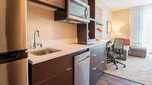 Desk, laptop workspace, blackout drapes, iron/ironing board