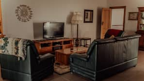 TV, DVD player, books, video library