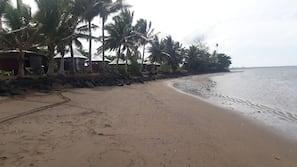 Private beach, black sand