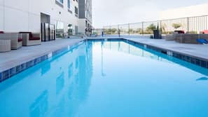 Outdoor pool, open 6:30 AM to 10:30 PM, sun loungers