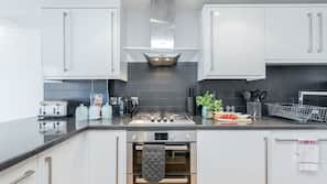 Fridge, microwave, oven, electric kettle