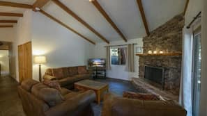 TV, fireplace, video game console