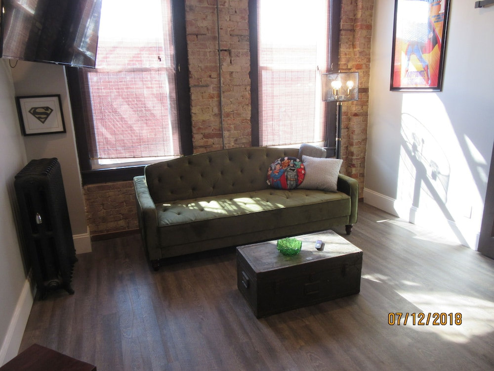 Living Room, Great Location in the Historic Downtown of Metropolis, Home of Superman