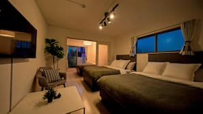手提電腦工作空間、窗簾、免費 Wi-Fi、床單