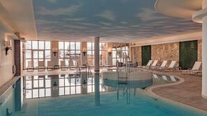 Indoor pool, outdoor pool, open 7:00 AM to 8:00 PM, pool umbrellas