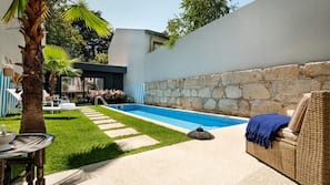 Outdoor pool, open 9:30 AM to 9:00 PM, sun loungers