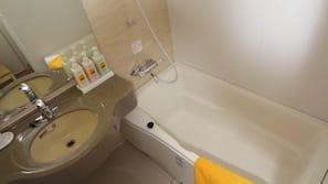 Separate tub and shower, deep soaking tub, hair dryer, electronic bidet