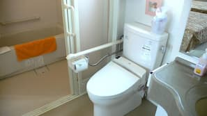 Separate tub and shower, free toiletries, hair dryer, electronic bidet