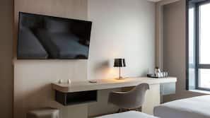 Minibar, desk, blackout curtains, iron/ironing board