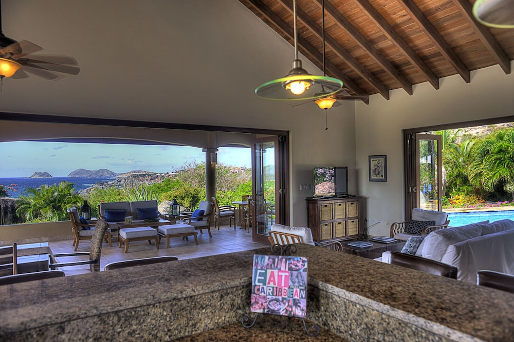 Living Room, Gorgeous 3 BR Villa With Spectacular Views of Crook's Bay. Renovated & Ready!