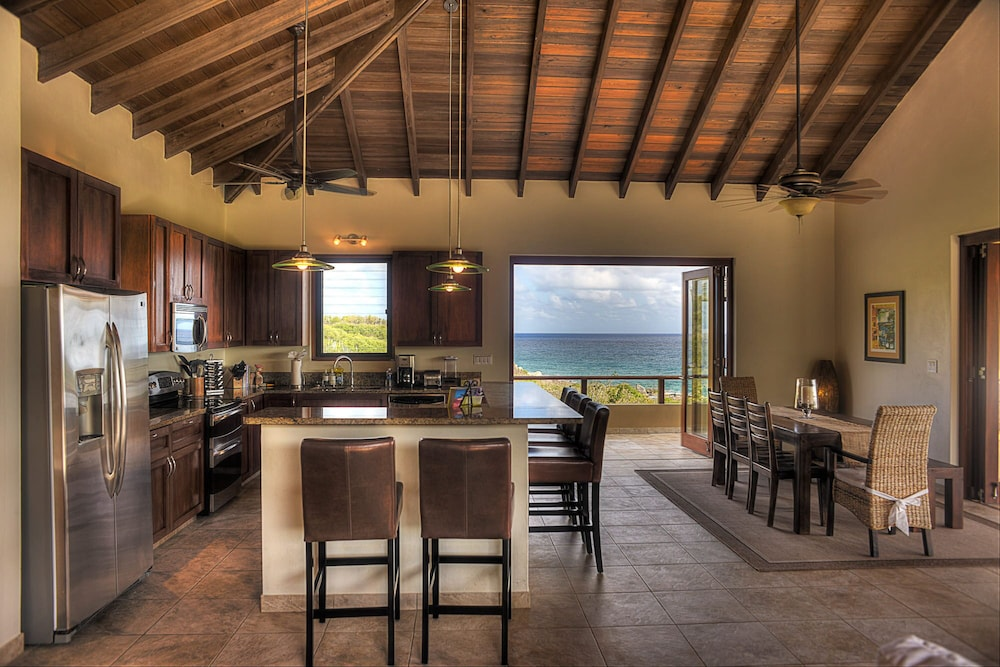 Private Kitchen, Gorgeous 3 BR Villa With Spectacular Views of Crook's Bay. Renovated & Ready!