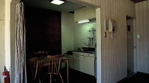 Fridge, microwave, hob, rice cooker