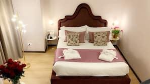 Frette Italian sheets, premium bedding, down duvet, minibar