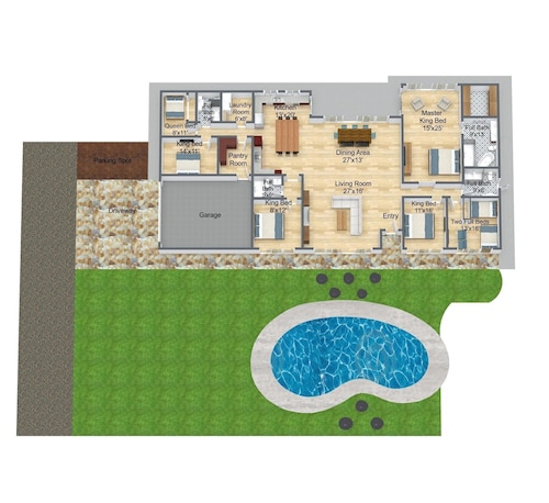 Floor plan, North Shore/waialua - Large Estate Home W/resort-style Pool, Steps to Beach!