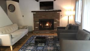 TV, fireplace, table tennis table